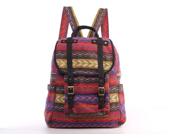 Collage Backpack Utility Rucksack Knapsack Carry on Bag Lined Woven Textile/ Tapestry (Black trim)