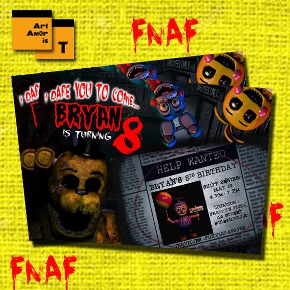 Fnaf birthday invitation five nights at freddys invitation games