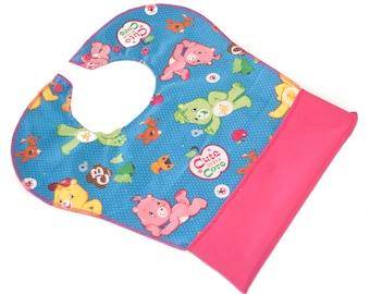 Pocket Bib - One Size - Baby Toddler - Waterproof - Feeding - Snap Neck - Washable - Baby Shower Gift - Large - Carebears