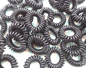Black telephone line hair ties, plastic hair ties, ponytail holders,--large size  50pcs