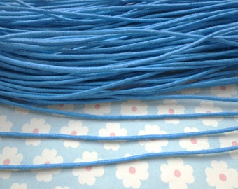 20pcs 17 inch Sea Blue Waxed Cotton Cord Necklace With Lobster Clasp&5cm Extension Chain size 1.5mm