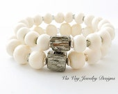 Pyrite Cube Bracelet - White Bone Beads - Pyrite Stretch Bracelet Set