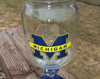 Michigan WOLVERINES Logo Wine Glass Wineglass Redneck Rustic Hillbilly Rednek