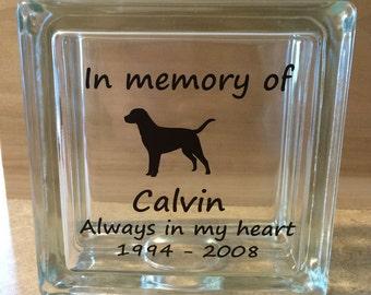 Pet Memorial Dog In Memory Personalized Glass Block Choose Breed