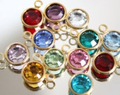 Birthstone charms - swarovski crystal channels - birthstone jewelry - gold plated - 6.5mm