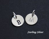 "Sterling silver initial charm - 9.5mm (3/8"") - round - add-on charm - personalized initial charm"