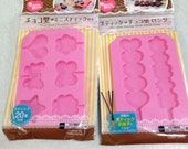 Fancy Hearts and Florals Motifs Japanese Silicone Mold For Chocolate Sticks (2 Designs to choose)
