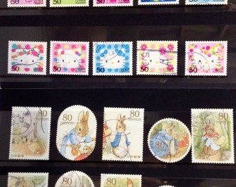 Japanese Postage Stamp set of 10- Peter Rabbit Or Hello Kitty