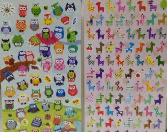 Japanese / Korean Paper Stickers (Pick 1): Owls Or Colorful Giraffe