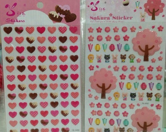 Japanese/ Korean Sticker (Pick 1) Hearts or Cherry Blossom