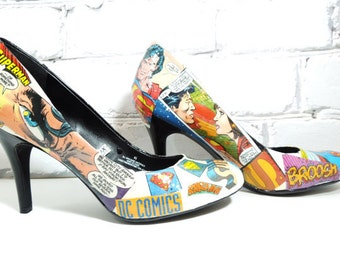 Comic Book Shoes. Size 11 US/41-42 European/9 UK.  Custom Made for You for Special Occasions. Weddings. Cosplay. Night.Your Dream Heels.