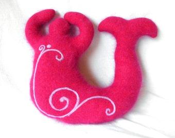 Metallic Pink Angora Swirl~ Medium Mermaid Wool Goddess Doll