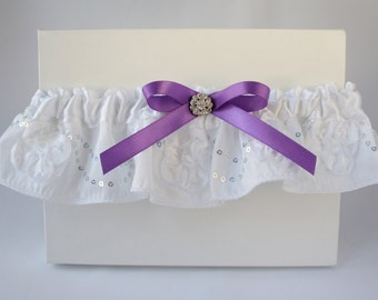 White & purple Bridal garter/Wedding Garter/White garter/Prom garter/Lace garter/Sequins garter/Purple garter/Keepsake garter/Ready to ship