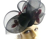 Art Deco 1930s Burgundy Red Butterflies with Crystals on Sculptured Black Nylon Headpiece This is a Custom Order