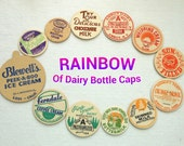 12 Vintage Milk Caps in a Full Rainbow of Colors - A Dozen Different Dairy Bottle Tops - Colorful Old Cardboard Milk Bottle Cap Variety
