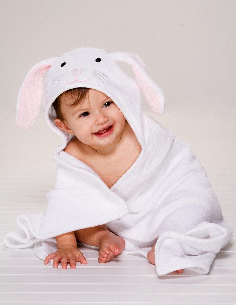 personalized hooded baby towel bunny. Black Bedroom Furniture Sets. Home Design Ideas