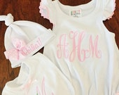 Newborn Girl Take Home-Personalized Baby Girls Ruffle Baby Romper-hat and bib- baby girls set - monogrammed with bow- So sweet.