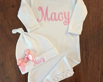 Newborn Monogram Layette Gown -Personalized Baby Girl Clothes Layette Gown and Personalized Hat New Baby Girl Gift