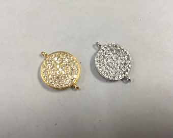 14mm coin connector pendant CZ bead, 1 bead
