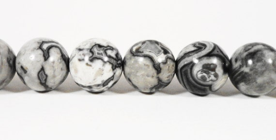 "Picture Jasper Gemstone Beads 8mm Round Smooth Gray (Grey) Black and White Picture Jasper Stone Beads on a 7 1/2"" Strand with 23 Beads"