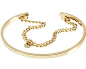 232G-Gold Metal Chain Cuff Bracelet