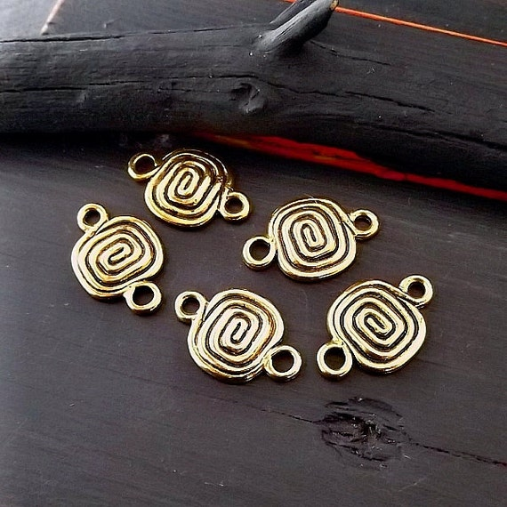 Spiral Bright Antique Gold Finish Link - Boho Hippie Gypsy Jewelry Link - Destash Findings - Pkg. 5