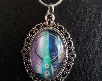 """Necklace Purple turquoise blue Lace edged pendant """"Patchwork Mandalas"""""""