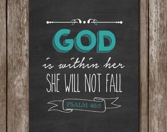 Psalms 46:5 Printable Decor//Instant Download//Typography