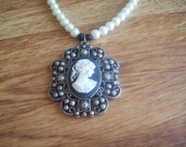 Cameo Necklace with Ecru Glass Pearls and Black Obsidian Handmade