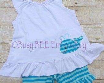 Whale Appliqued shorts set