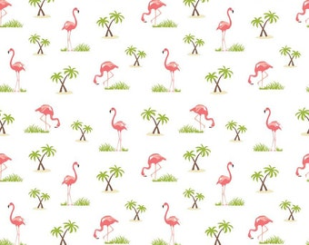 Riley Blake - Novelty Flamingo on White C-4554 by Samantha Walker by the Yard