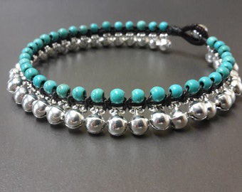Jingling Silver Turquoise Anklet