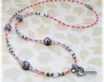 MaDe to OrDeR White Floral Lampwork Swarovski Magnetic Beaded Breakaway ID Badge Holder Lanyard Necklace Lariat Teacher, Nurse