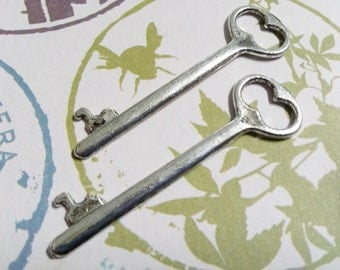 Silver Skeleton Key Charms Antiqued Silver Key Pendants Steampunk Keys Silver Keys 53mm 2 inch 4 pieces