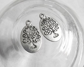 Tree Charms Tree of Life Charms Bulk Charms Wholesale Charms Antiqued SILVER Oval Tree 50 pieces