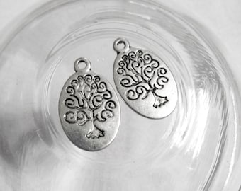 Tree Charms Tree of Life Charms Wholesale Charms Antiqued Silver Oval Tree Pendants Stamped Tree Charms Samples 50 pieces