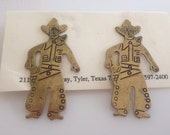 1980s Vintage Women's Brass Cowboy Stud Earrings