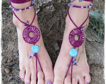 Barefoot Sandals-Crochet-Beadwork-Beach-Yoga-Festival-Accessories-Hippie-Boho