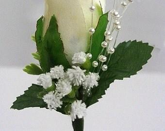 Wedding Boutonniere Ivory Rose Corsage Groom Mens Flower