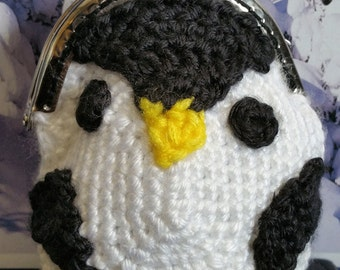 Hand-crafted crochet penguin coin purse with metal frame clasp