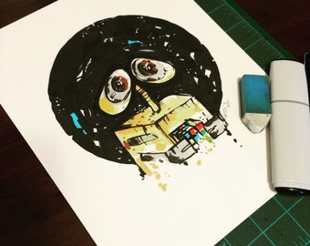 Walle Original drawing 8x10 inches, Wall-e inspired.