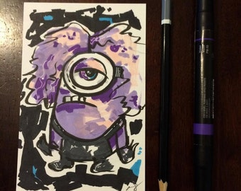 Purple Minion Original drawing 4x6 inches, Disney inspired.