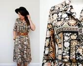 Vintage Boho Floral Aztec Print Shirtwaist Dress / Long Sleeves / Day Dress / Medium