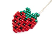 Sparkly Strawberry Necklace - Red Emerald Green Crystal Encrusted Fruit Berry Pendant - Rockabilly Pin Up Vegan Jewellery