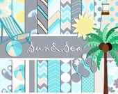 Digital paper summer, 20 papers png clipart pictures clipart png 6 ref 005 Sun & Sea