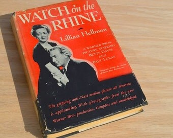 Watch on the Rhine by Lillian Hellman 1943 Vintage Photoplay book with dust jacket starring Bette Davis and Paul Lukas