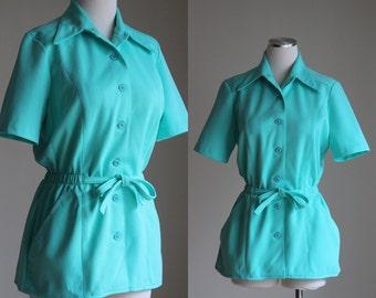 SALE: Vintage 70s Mint Short Sleeve Jacket - Belted Peplum Jacket Top - Pykettes Pastel Summer Jacket - Leisure Suit Jacket - Size Medium