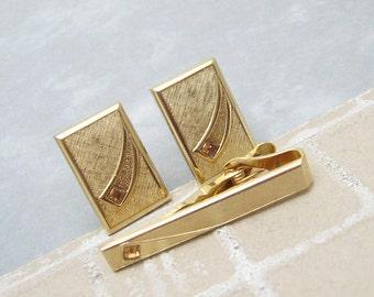 Vintage Rhinestone Cufflinks Tie Clip Set Swank Mens Jewelry H736