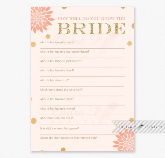 Items Similar To How Well Do You The Bride Game