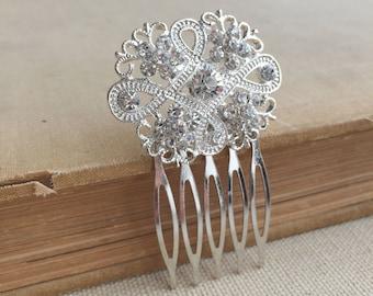 Art deco comb, small, Art Deco headpiece, Bridal Hair Comb, Rhinestone comb,1920s wedding accessory crystal small SWIRL CROSS